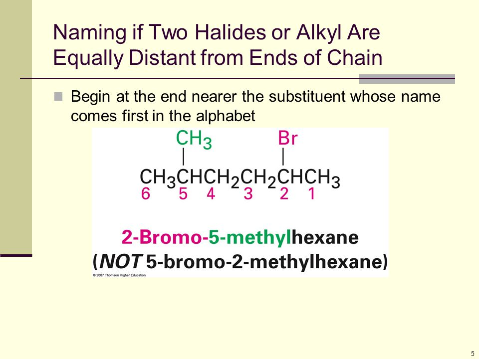 Naming if Two Halides or Alkyl Are Equally Distant from Ends of Chain
