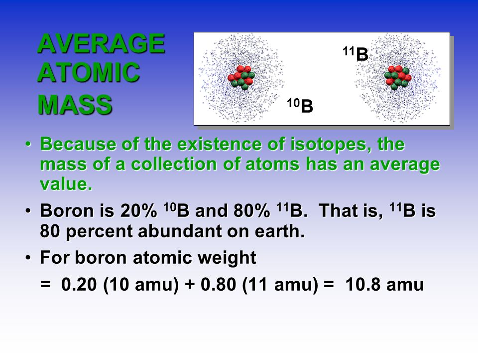 10B 11B. AVERAGE ATOMIC MASS. Because of the existence of isotopes, the mass of a collection of atoms has an average value.
