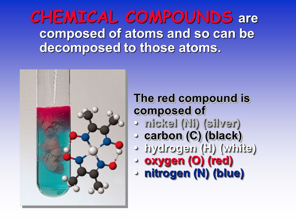 CHEMICAL COMPOUNDS are composed of atoms and so can be decomposed to those atoms.