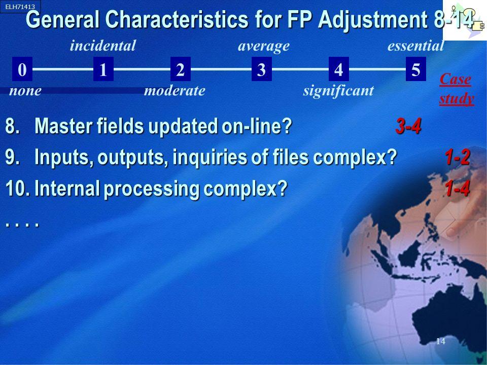 General Characteristics for FP Adjustment 8-14