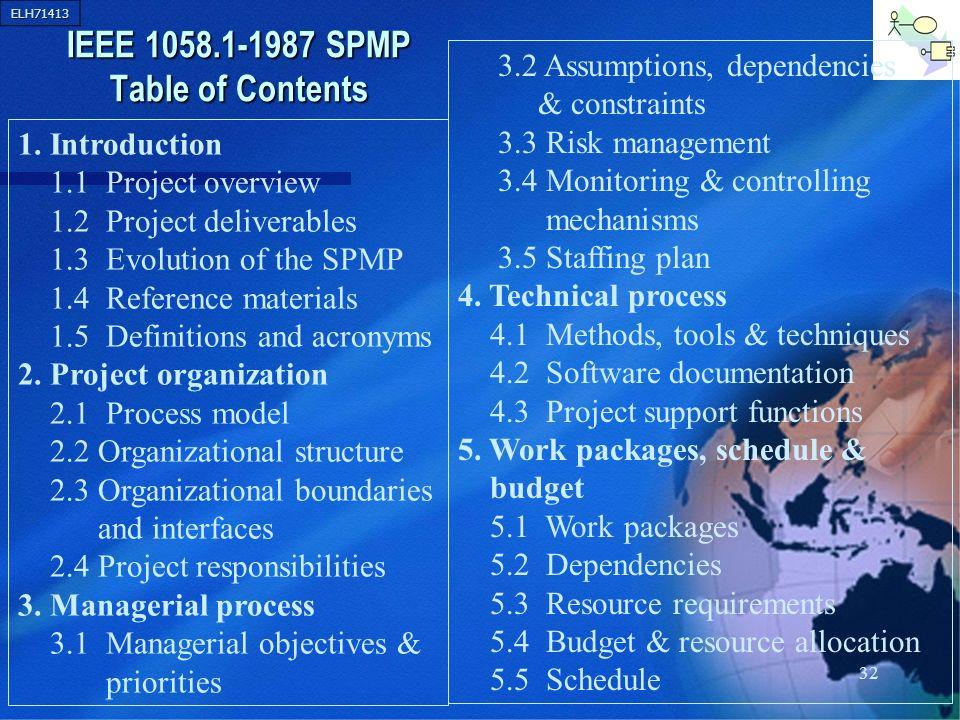 IEEE 1058.1-1987 SPMP Table of Contents