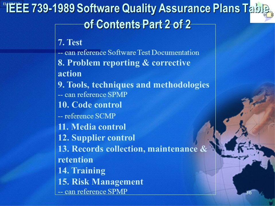 IEEE Software Quality Assurance Plans Table of Contents Part 2 of 2