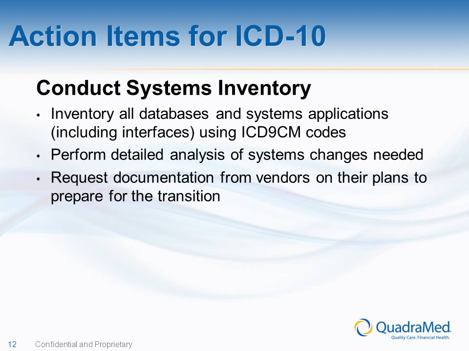 Action Items for ICD-10 Conduct Systems Inventory