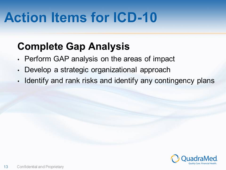Action Items for ICD-10 Complete Gap Analysis