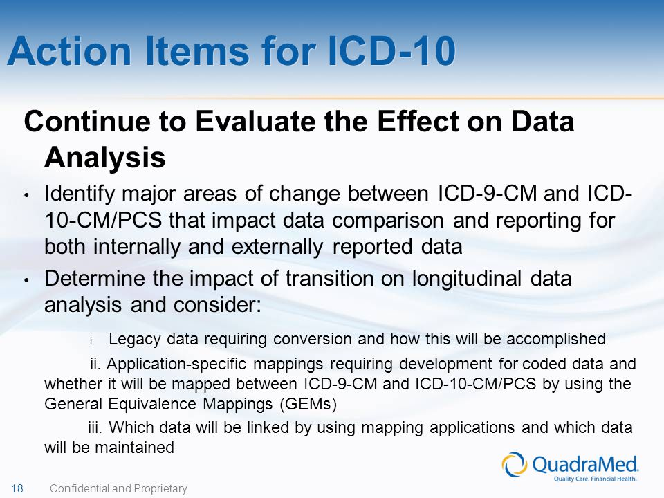 Action Items for ICD-10 Continue to Evaluate the Effect on Data Analysis.