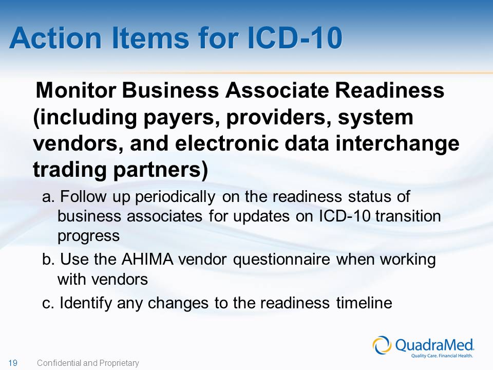 Action Items for ICD-10