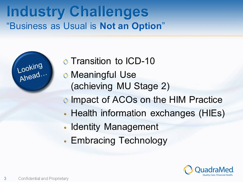Industry Challenges Business as Usual is Not an Option
