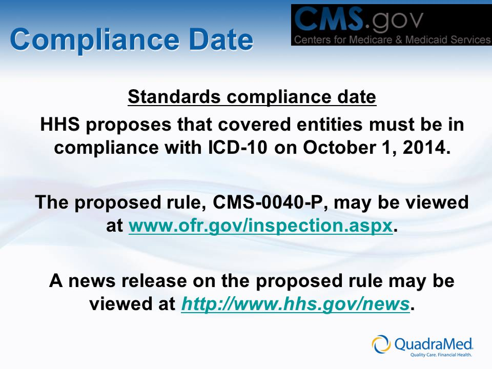 Standards compliance date