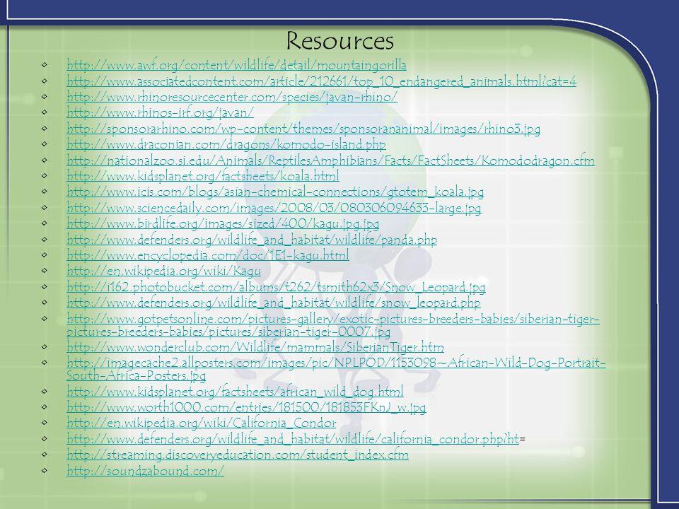 Resources http://www.awf.org/content/wildlife/detail/mountaingorilla