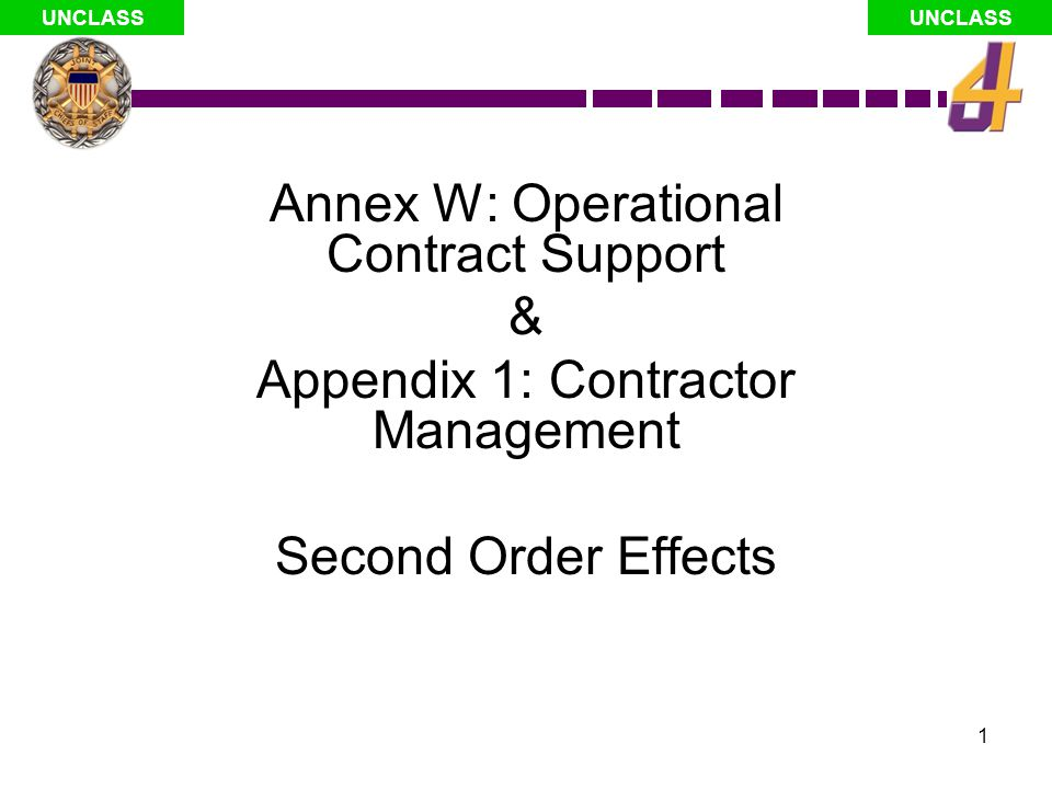 Annex W: Operational Contract Support &