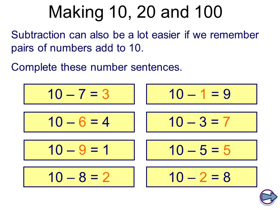 Making 10, 20 and 100 Subtraction can also be a lot easier if we remember pairs of numbers add to 10.