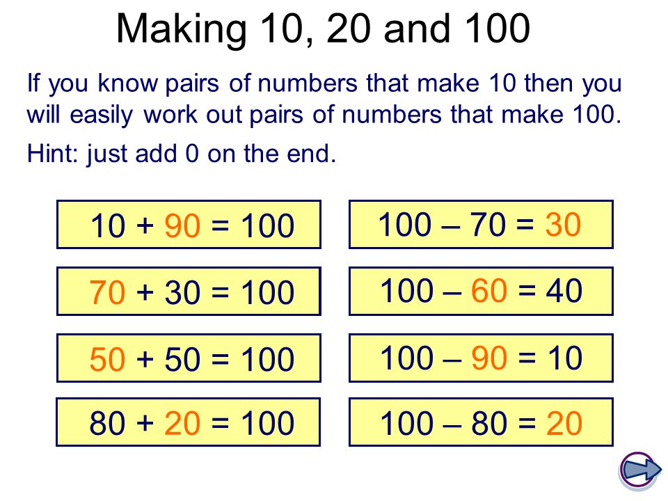 Making 10, 20 and 100 If you know pairs of numbers that make 10 then you will easily work out pairs of numbers that make 100.
