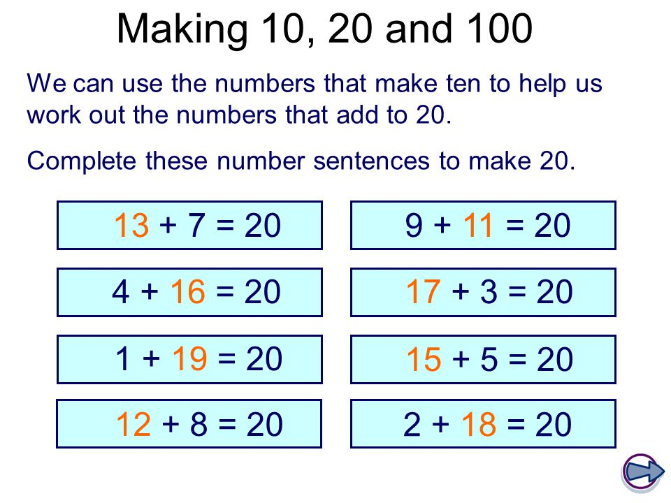 Making 10, 20 and 100 We can use the numbers that make ten to help us work out the numbers that add to 20.