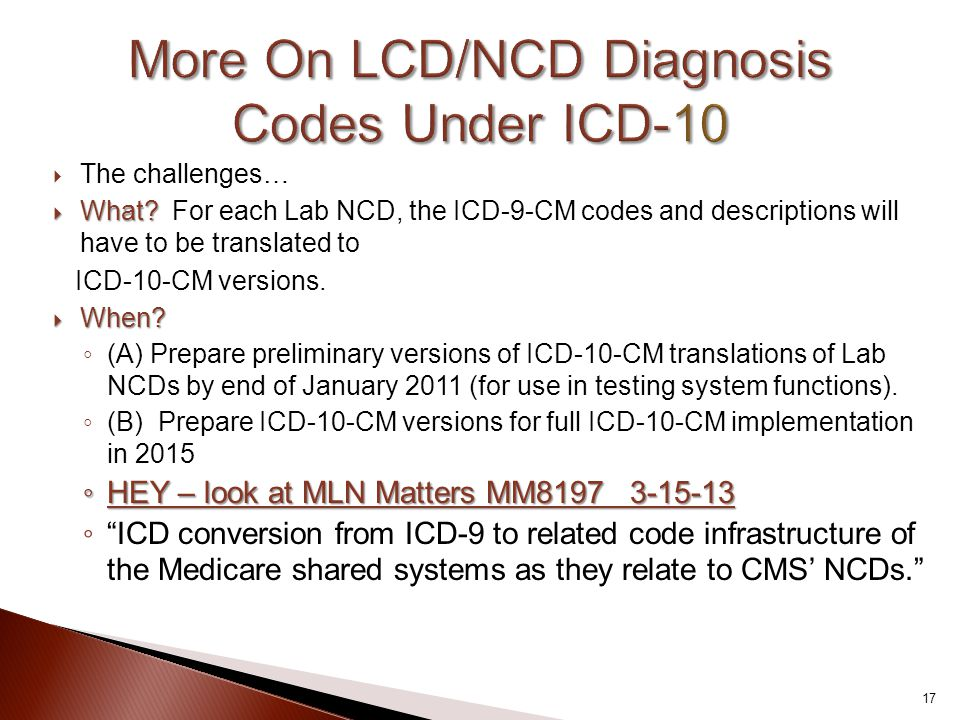 More On LCD/NCD Diagnosis Codes Under ICD-10