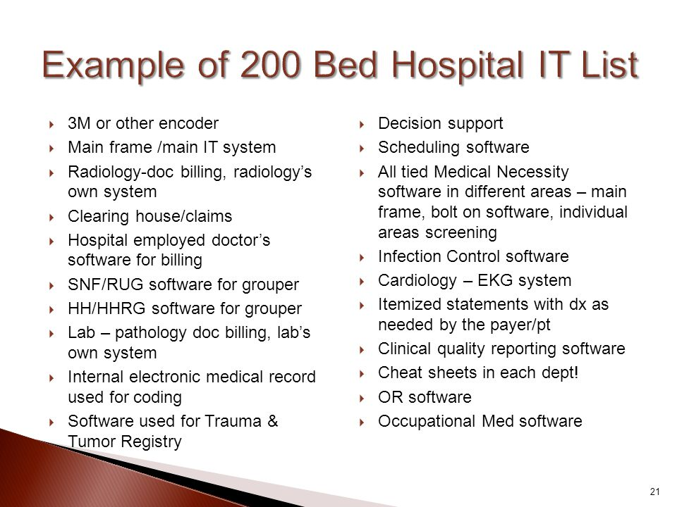 Example of 200 Bed Hospital IT List