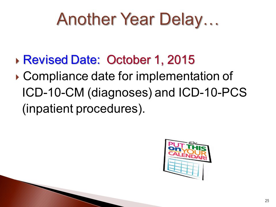 Another Year Delay… Revised Date: October 1, 2015