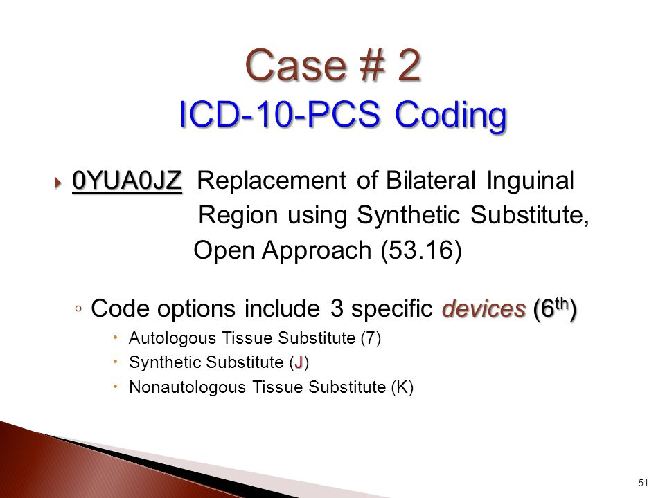 Case # 2 ICD-10-PCS Coding 0YUA0JZ Replacement of Bilateral Inguinal
