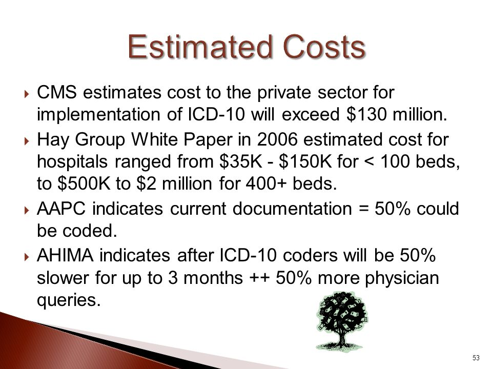 Estimated Costs CMS estimates cost to the private sector for implementation of ICD-10 will exceed $130 million.