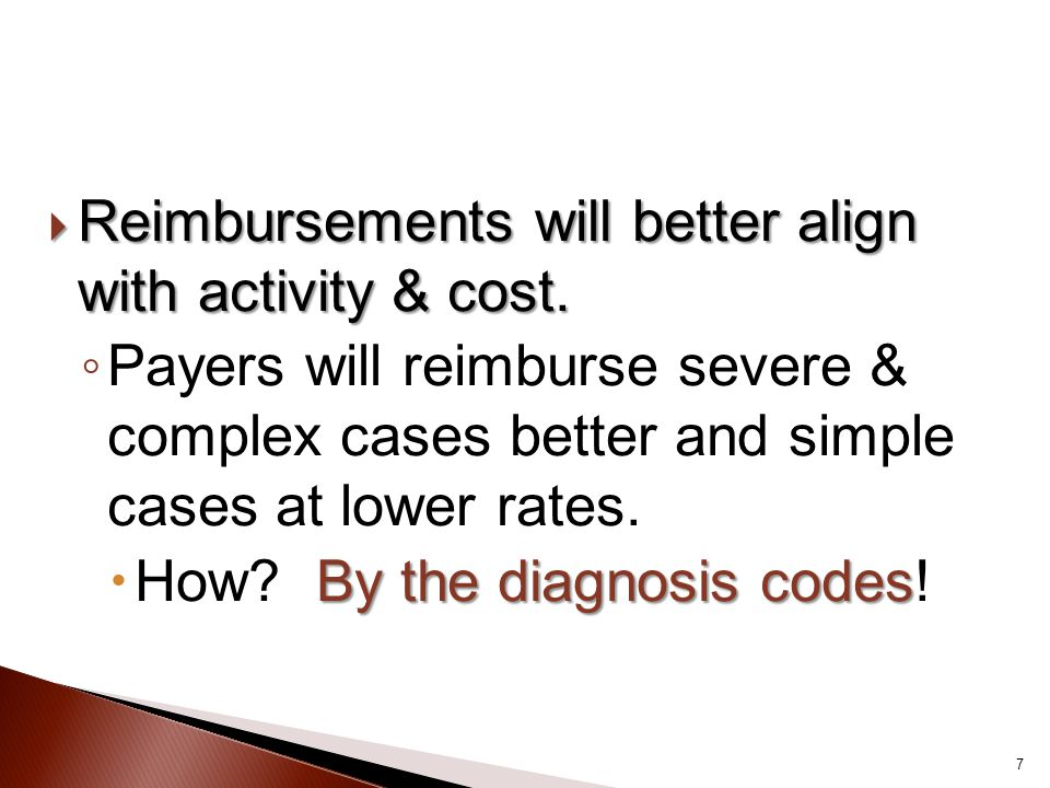 Reimbursements will better align with activity & cost.