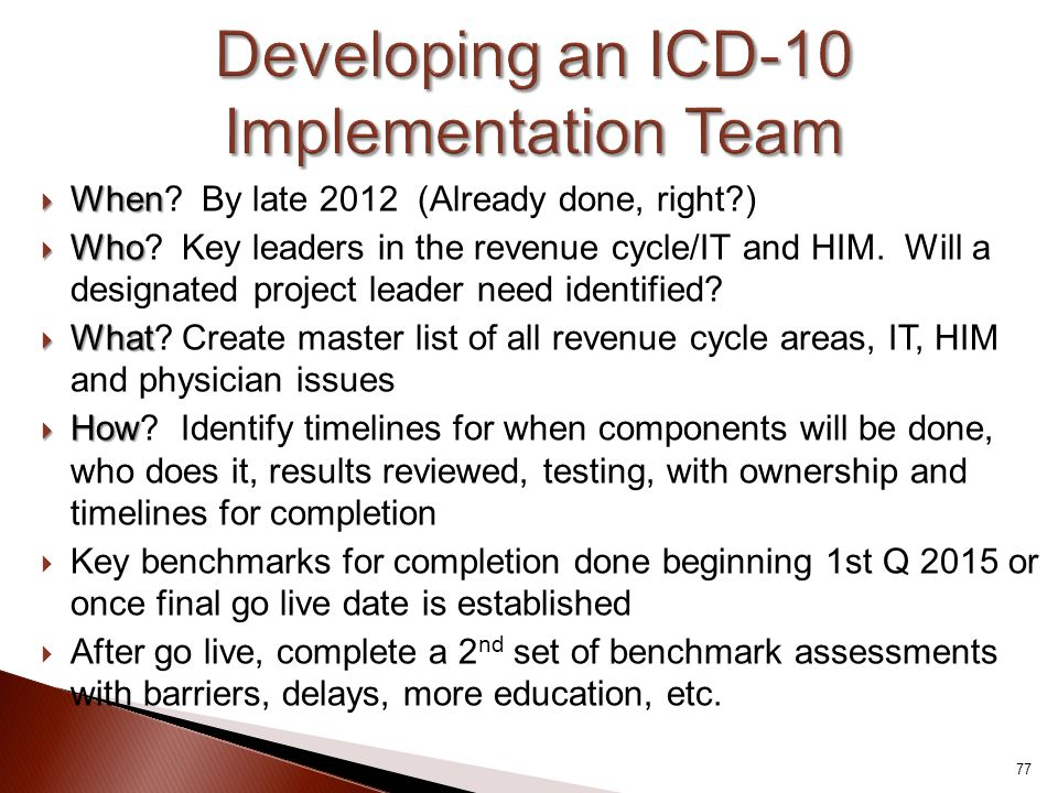 Developing an ICD-10 Implementation Team