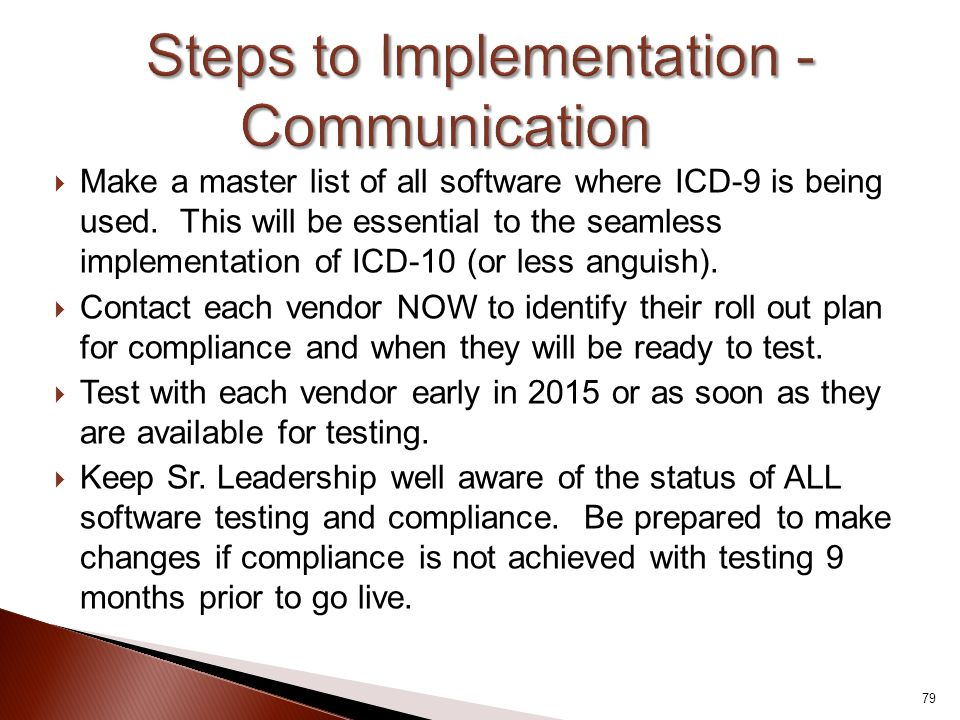 Steps to Implementation - Communication