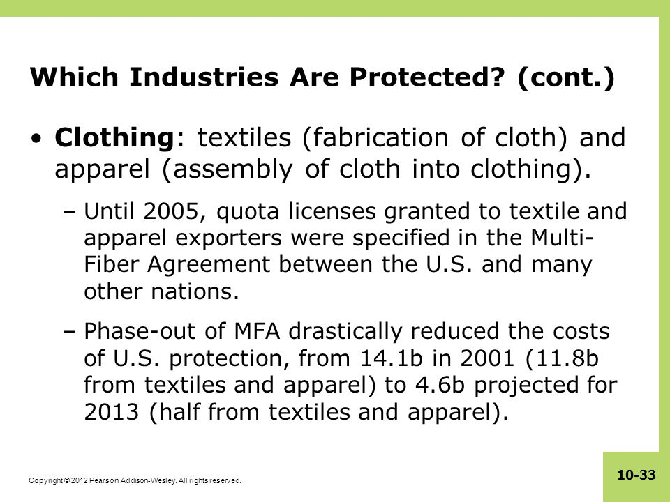 Which Industries Are Protected (cont.)