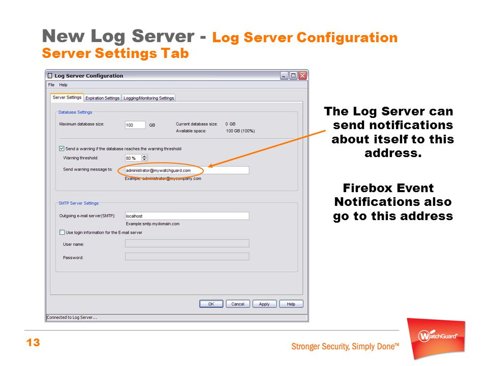 New Log Server - Log Server Configuration Server Settings Tab