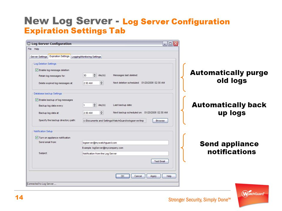New Log Server - Log Server Configuration Expiration Settings Tab