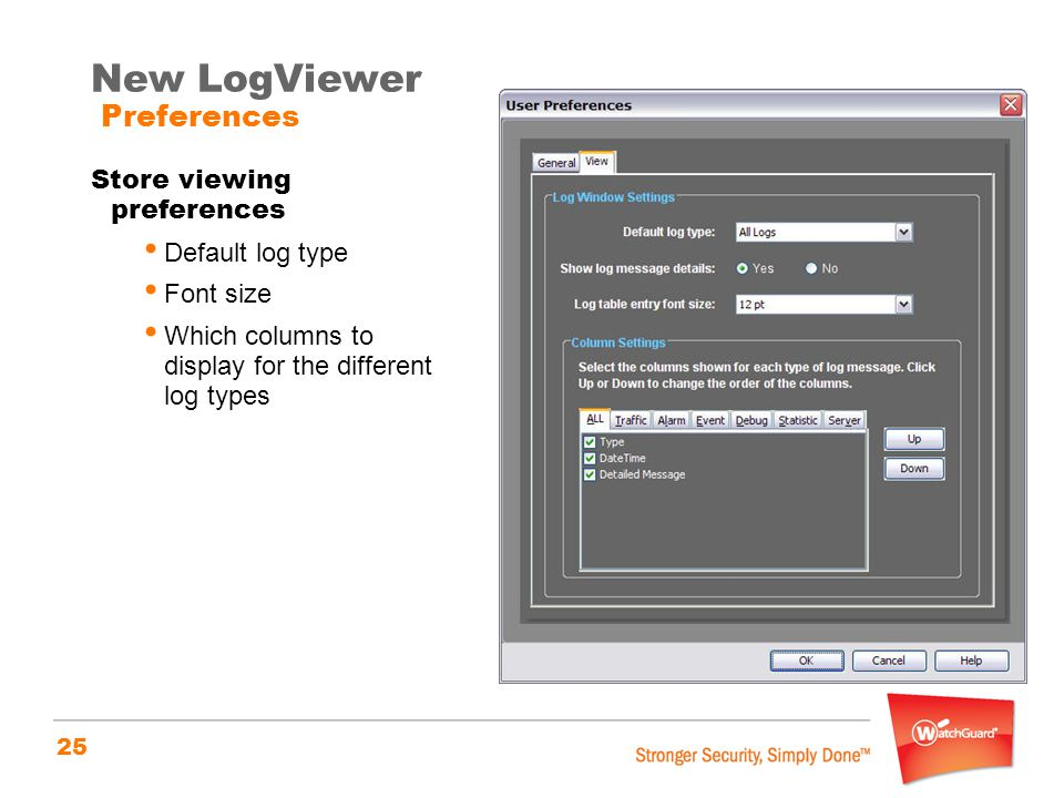 New LogViewer Preferences