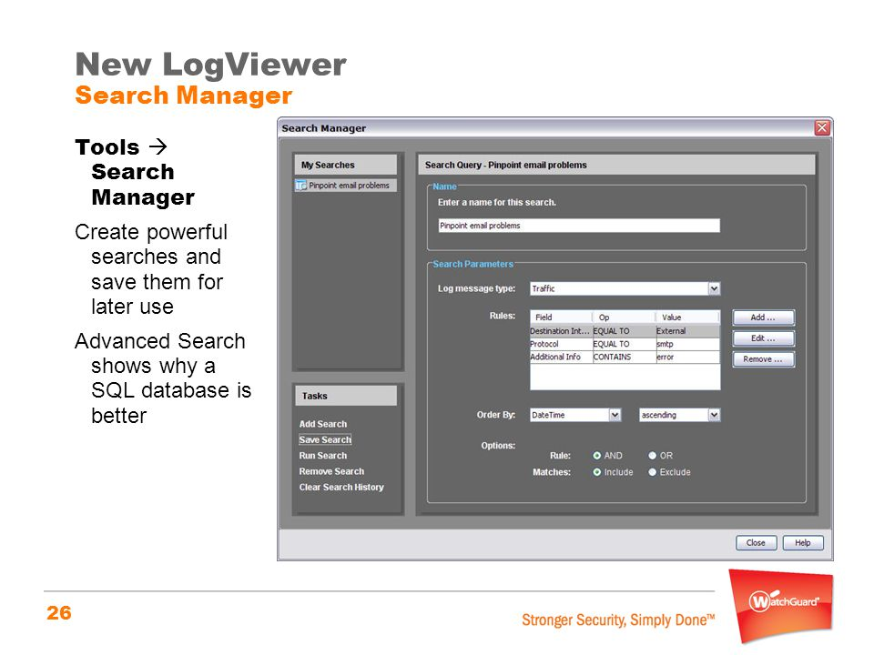New LogViewer Search Manager