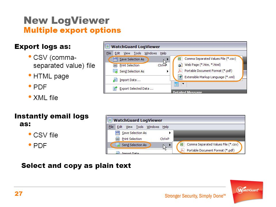 New LogViewer Multiple export options