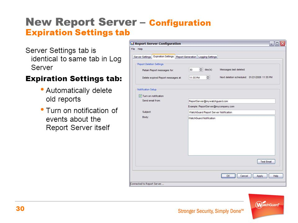 New Report Server – Configuration Expiration Settings tab
