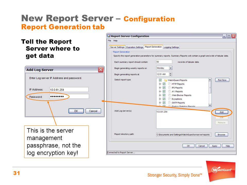 New Report Server – Configuration Report Generation tab