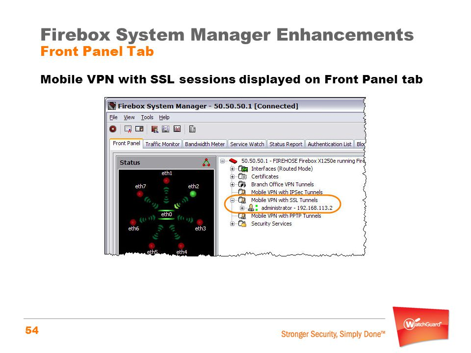 Firebox System Manager Enhancements Front Panel Tab