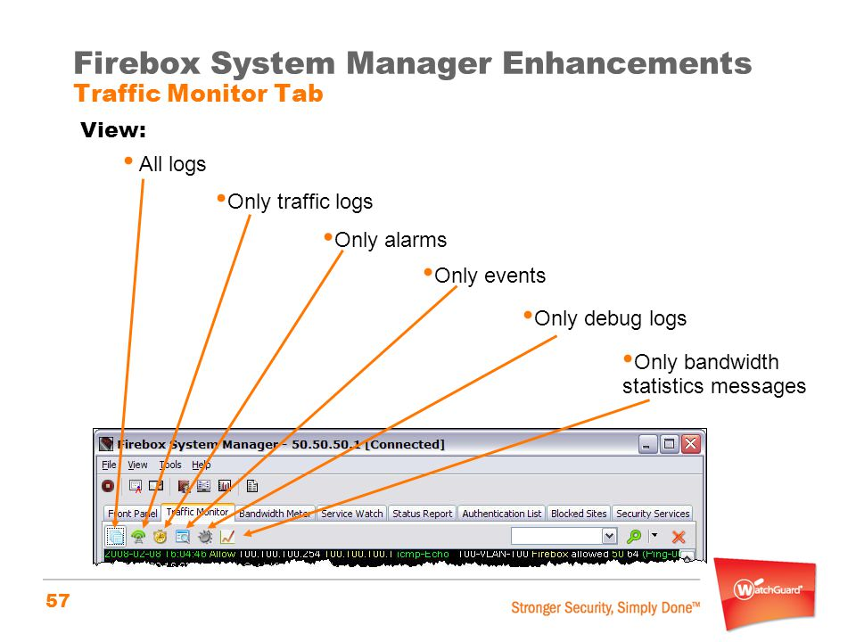 Firebox System Manager Enhancements Traffic Monitor Tab