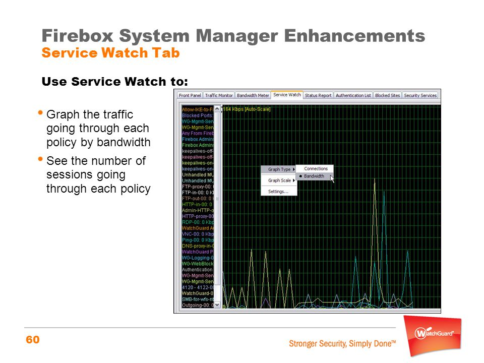 Firebox System Manager Enhancements Service Watch Tab