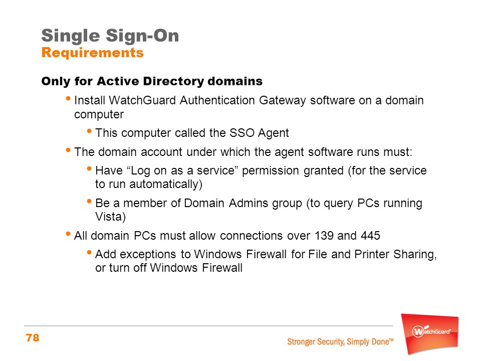 Single Sign-On Requirements