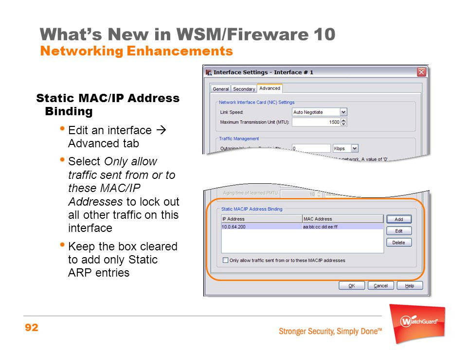 What's New in WSM/Fireware 10 Networking Enhancements