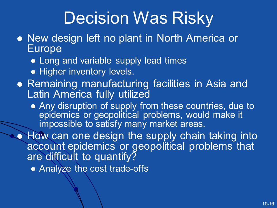 Decision Was Risky New design left no plant in North America or Europe