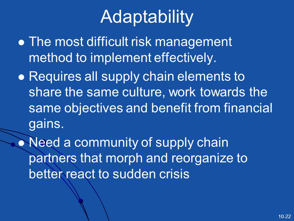 Adaptability The most difficult risk management method to implement effectively.
