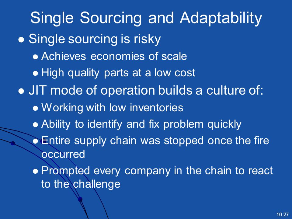 Single Sourcing and Adaptability