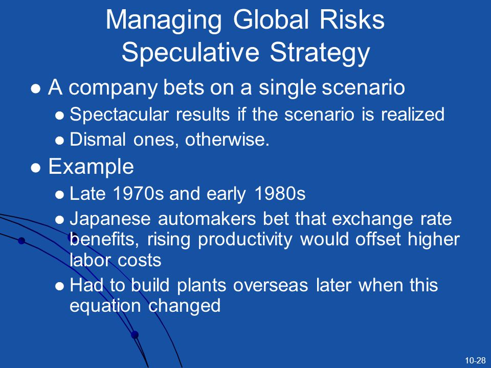 Managing Global Risks Speculative Strategy