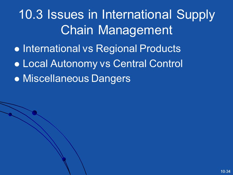 10.3 Issues in International Supply Chain Management