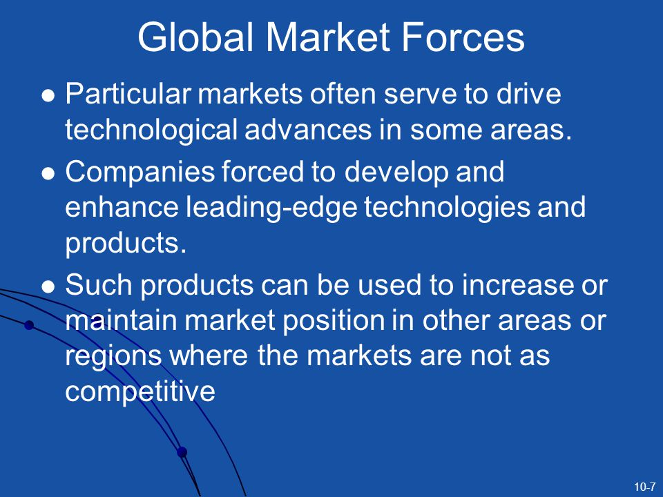 Global Market Forces Particular markets often serve to drive technological advances in some areas.