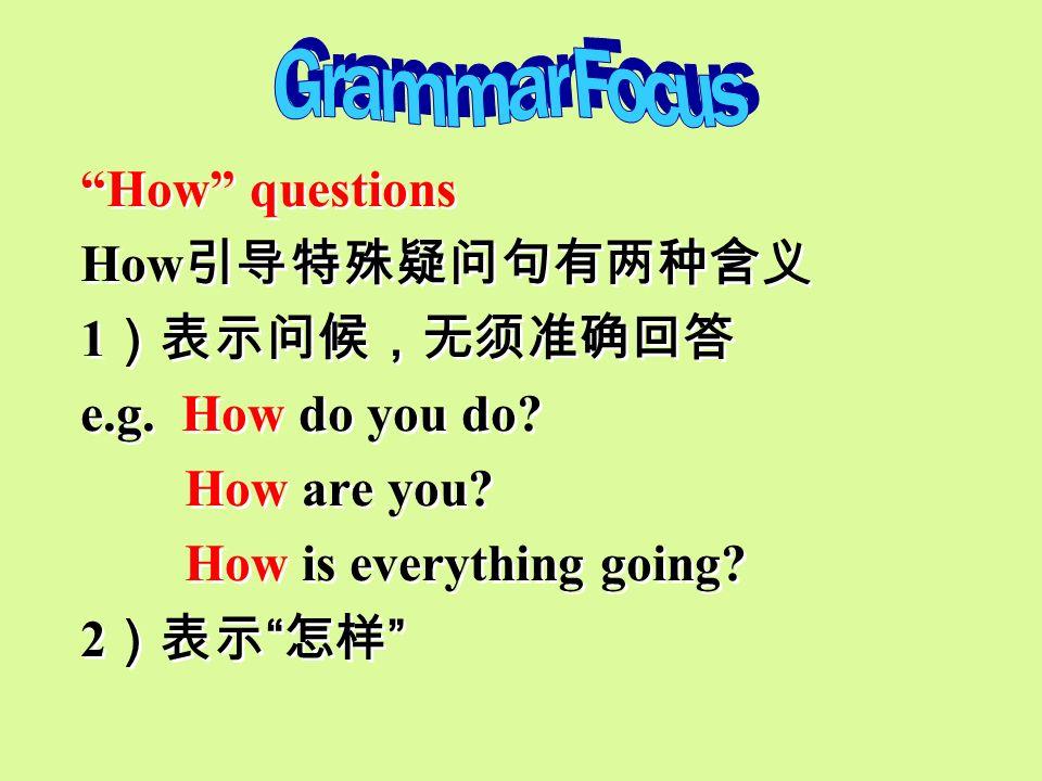 Grammar Focus How questions. How引导特殊疑问句有两种含义. 1)表示问候,无须准确回答. e.g. How do you do How are you