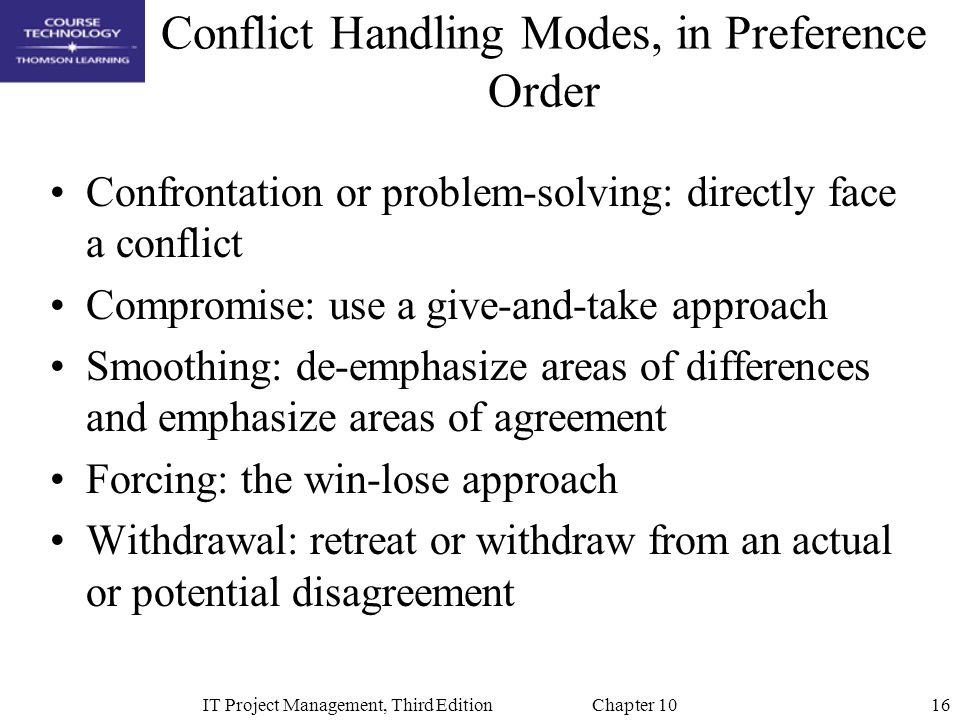 Conflict Handling Modes, in Preference Order