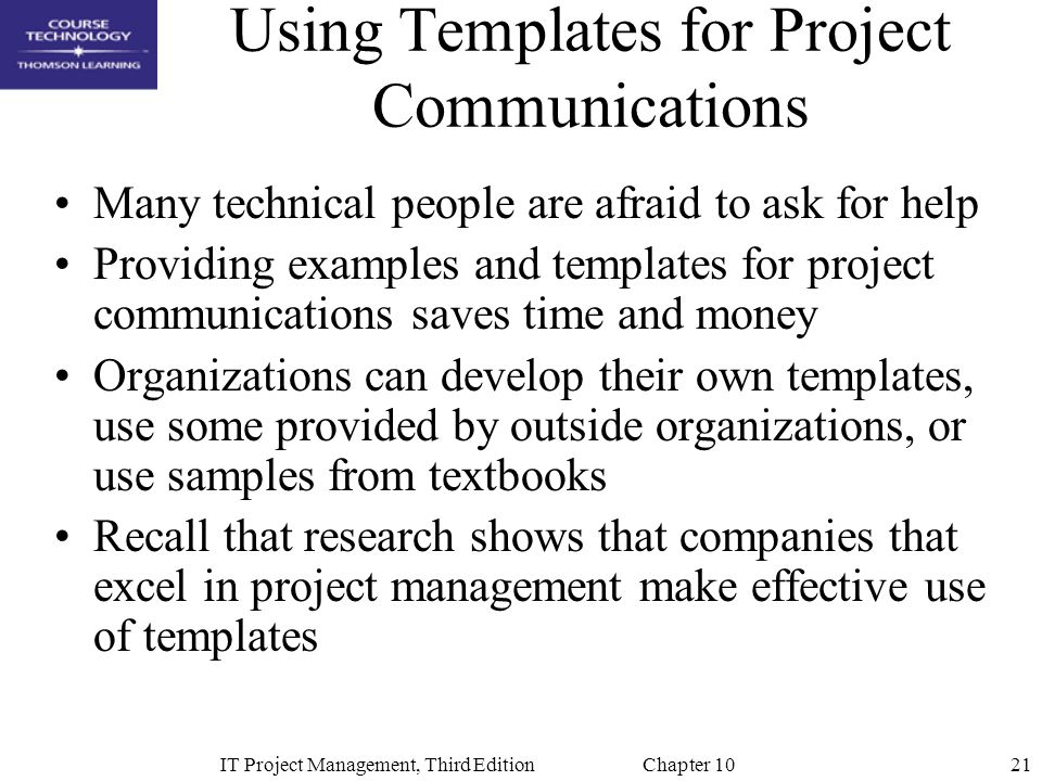 Using Templates for Project Communications