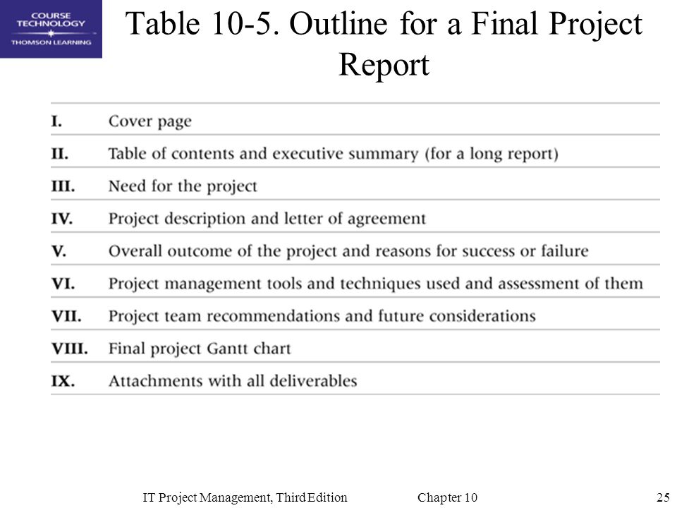 Table 10-5. Outline for a Final Project Report
