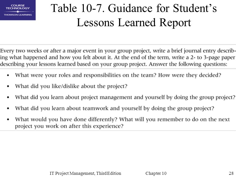 Table 10-7. Guidance for Student's Lessons Learned Report