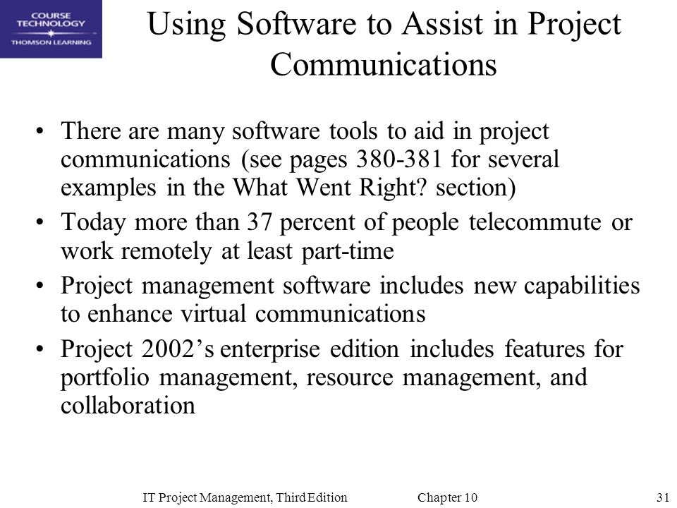 Using Software to Assist in Project Communications